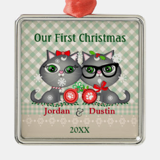 Custom Hipster Cats First Christmas Ornament