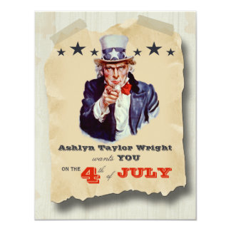 Custom Hipster Fourth Of July Celebration Invite