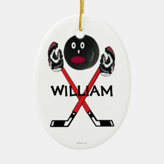 Custom Hockey Cartoon Ceramic Oval Decoration