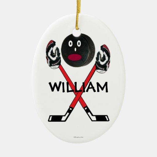 Custom Hockey Cartoon Christmas Ornaments