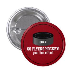 Custom Hockey Player Number Team Name 3 Cm Round Badge