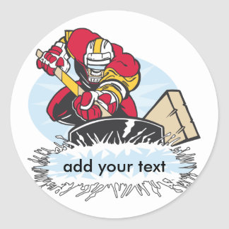 Custom Hockey Player Round Sticker