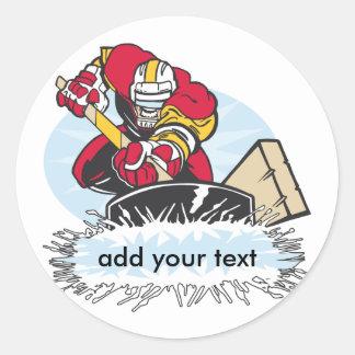 Custom Hockey Player Round Sticker
