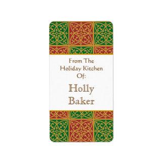 Custom Holday Baking Red Green Fleur de Lis Labelb Label