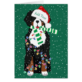 Custom Holiday Bernese Mountain Christmas Dog Card
