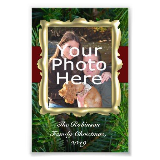 Custom Holiday Photo Border, Vertical Gold Frame