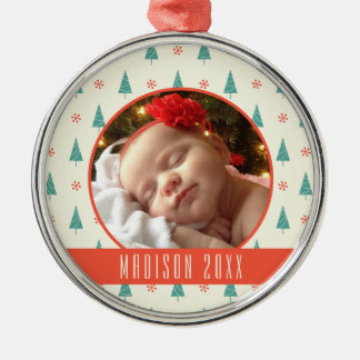 Custom Holiday Photo | Christmas Tree & Snowflakes Christmas Ornament
