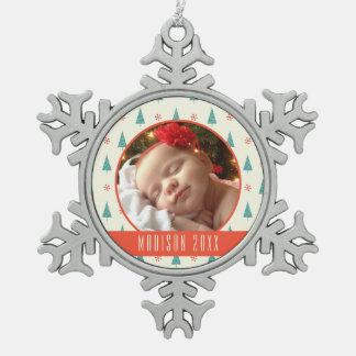 Custom Holiday Photo | Christmas Tree & Snowflakes Pewter Snowflake Decoration