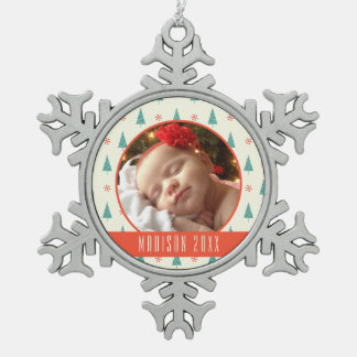 Custom Holiday Photo | Christmas Tree & Snowflakes Snowflake Pewter Christmas Ornament