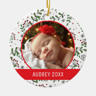 Custom Holiday Photo | Mistletoe Pattern Christmas Ornament