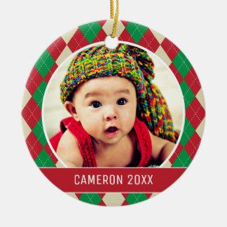 Custom Holiday Photo | Red & Green Argyle Pattern Christmas Ornament