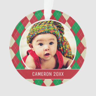 Custom Holiday Photo | Red & Green Argyle Pattern Ornament