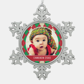 Custom Holiday Photo | Red & Green Argyle Pattern Pewter Snowflake Decoration
