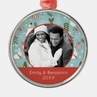Custom Holiday Photo | Santa And Forest Pattern Christmas Ornament
