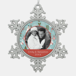 Custom Holiday Photo | Santa And Forest Pattern Snowflake Pewter Christmas Ornament
