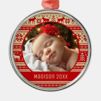 Custom Holiday Photo | Sweater Pattern Christmas Ornament
