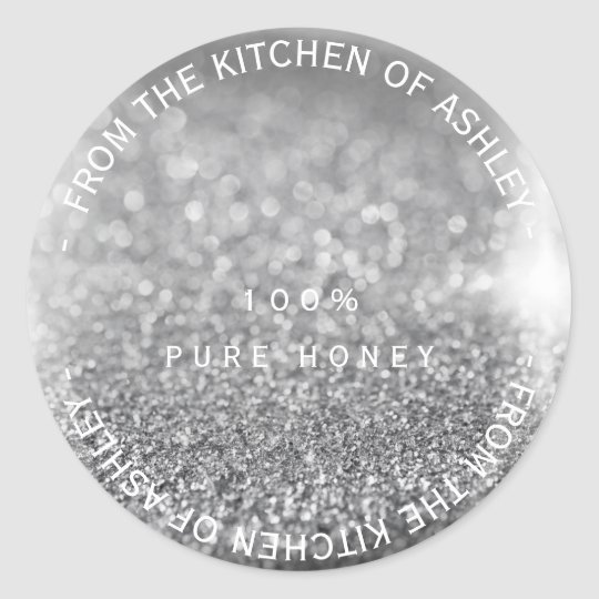 Custom Homemade Honey Gray Silver Glitter Glass Classic