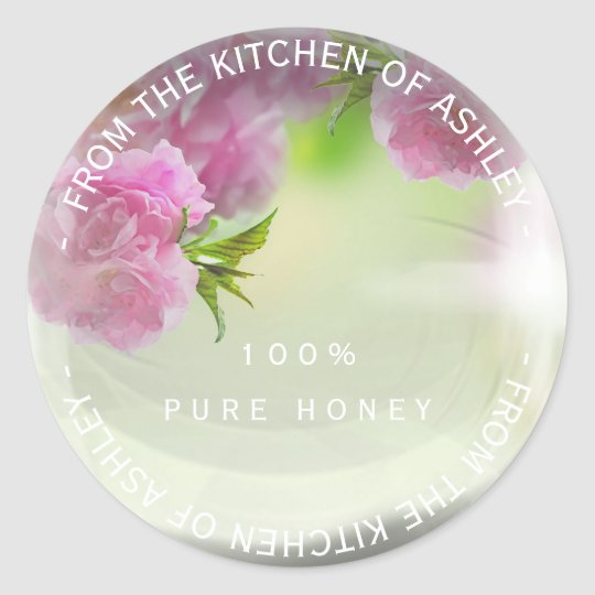 Custom Homemade Honey Roses Mint Pink Glass Classic