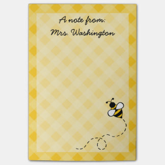 Custom Honey Bee Teacher's Post It Notes Gift