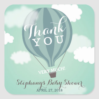 Custom Hot Air Blue Balloon Thank You Stickers