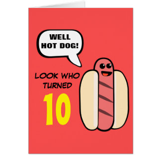 Custom Hot Dog Character Birthday Card