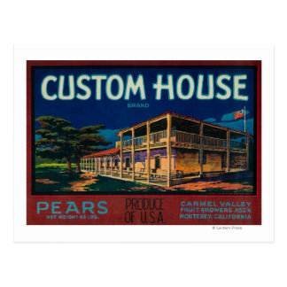Custom House Pear Crate LabelMonterey, CA Postcard