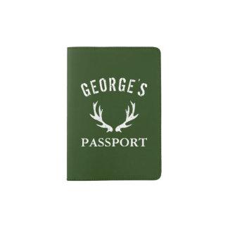 Custom hunter green deer antler passport holder