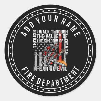 Custom I Fear No Evil Firefighter Crusader Round Sticker