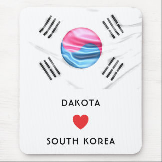 Custom I Heart Flag of South Korea Mouse Mat