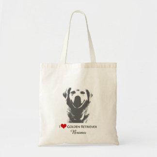 Custom I love Heart Golden Retriever Tote Bag