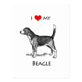Custom I Love My Beagle Dog Postcard