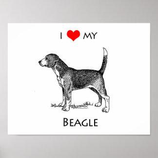 Custom I Love My Beagle Dog Poster