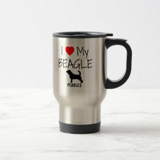 Custom I Love My Beagle Stainless Steel Travel Mug
