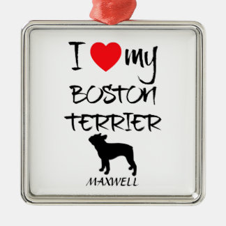 Custom I Love My Boston Terrier Christmas Ornament