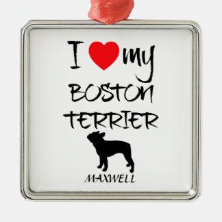 Custom I Love My Boston Terrier Silver-Colored Square Decoration