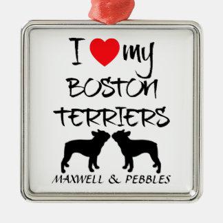 Custom I Love My Boston Terriers Silver-Colored Square Decoration