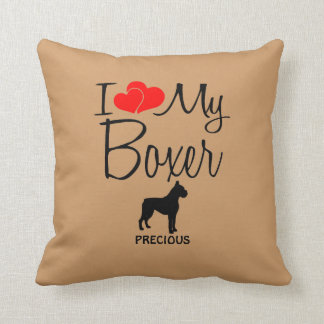 Custom I Love My Boxer Throw Pillow