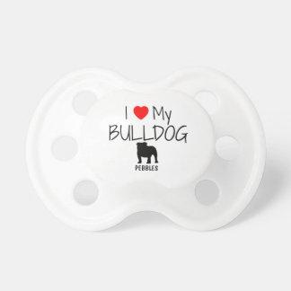 Custom I Love My Bulldog Baby Pacifiers
