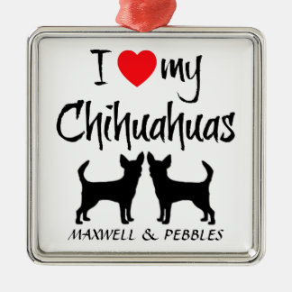 Custom I Love My Chihuahuas Silver-Colored Square Decoration