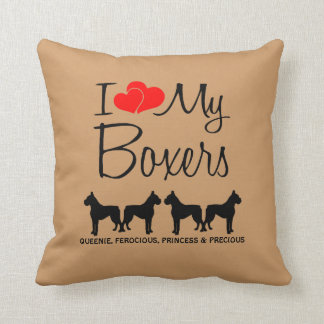 Custom I Love My Four Boxers Throw Pillow