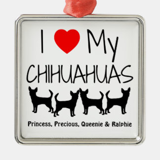 Custom I Love My Four Chihuahua Dogs Silver-Colored Square Decoration