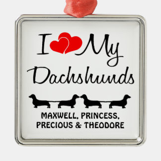 Custom I Love My Four Dachshunds Christmas Ornament