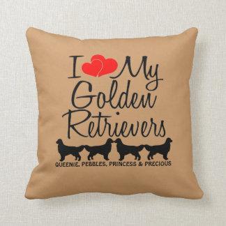 Custom I Love My Four Golden Retrievers Cushion