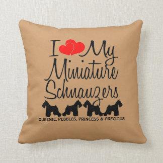 Custom I Love My Four Miniature Schnauzers Throw Cushions