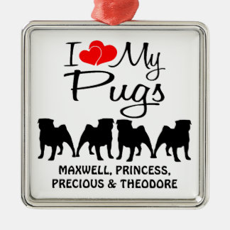 Custom I Love My Four Pugs Christmas Ornament