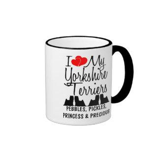 Custom I Love My Four Yorkshire Terriers Mug