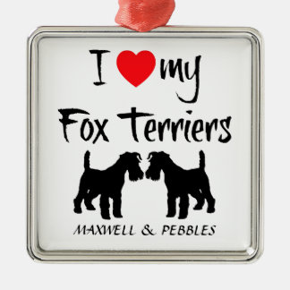 Custom I Love My Fox Terriers Christmas Ornament