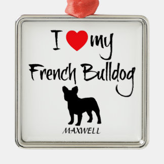 Custom I Love My French Bulldog Christmas Ornament