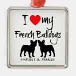 Custom I Love My French Bulldogs Christmas Tree Ornament