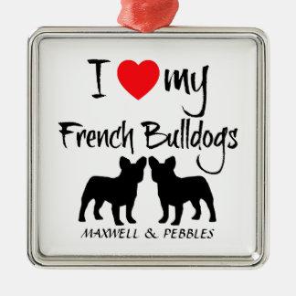 Custom I Love My French Bulldogs Silver-Colored Square Decoration